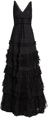 Marchesa Glitter Tulle Tiered Gown