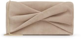 Reiss Beau Suede - Suede Clutch Bag in Beige