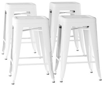 "Williston Forge Olivarez Metal 24"" Bar Stool Color: White"
