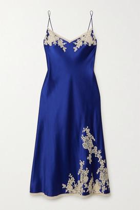 Carine Gilson Lace-trimmed Silk-satin Chemise - Blue