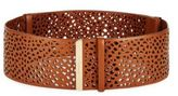 Salvatore Ferragamo Wide Perforated Leather Belt