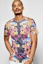 boohoo All Over Floral T Shirt navy