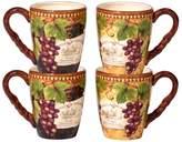 Certified International Gilded Wine 4-pc. Mug Set