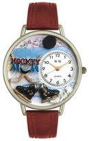 Whimsical Watches Women's U1010020 Unisex Silver Hockey Mom Burgundy Leather And Silvertone Watch