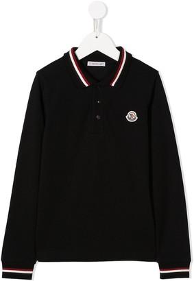 Moncler Enfant Embroidered Logo Long-Sleeve Polo
