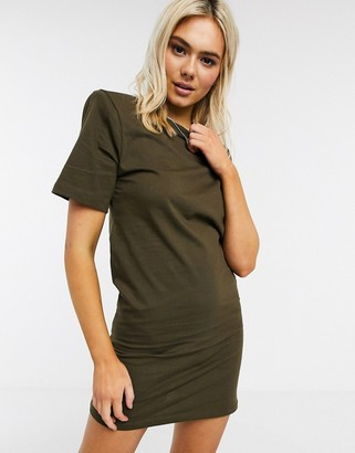 ASOS DESIGN padded shoulder short sleeve mini t-shirt dress in khaki