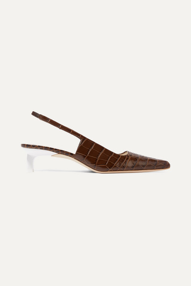 REJINA PYO Lois Croc-effect Leather Slingback Pumps - Brown