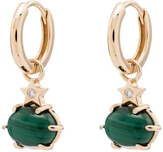 Andrea Fohrman 14kt Gold Drop Star Diamond And Malachite Earrings