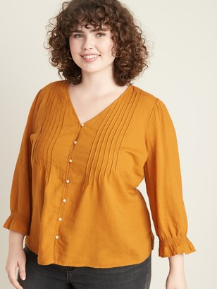 Old Navy Pintucked V-Neck Linen-Blend Plus-Size Blouse