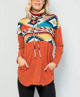 Celeste Women's Tunics RUST/AZTEC - Rust & Blue Geometric Cowl-Neck Pullover - Plus