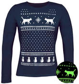Jolly Glow In The Dark Christmas Cats Long Sleeve T Shirt
