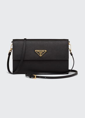 Prada Saffiano Leather Wallet with Shoulder Strap