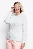 Classic Women's Plus Size Drifter Cable Sweater-Light Coral Blush Heather