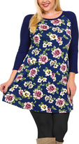 Celeste Blue Floral Three-Quarter Sleeve Tunic - Plus