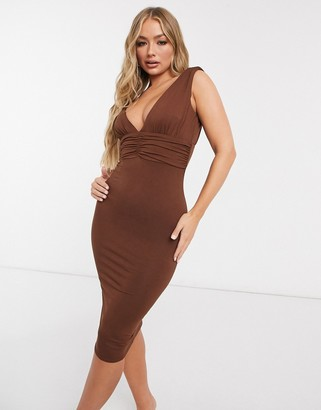 ASOS DESIGN going out plunge waisted midi dress in chocolate