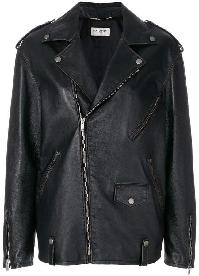 Saint Laurent oversized zipped biker jacket