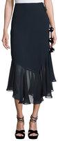 Figue Ruffled Silk Midi Skirt, Navy