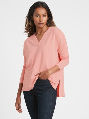Banana Republic Petite Relaxed V-Neck Sweatshirt