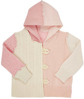 Agua Mixed-Stitch Cashmere Hooded Cardigan-PINK