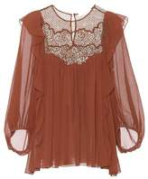 Chloé Lace-panelled silk blouse
