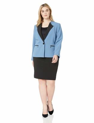 Le Suit Women's 1 Button V-Neck Crepe Skirt Suit