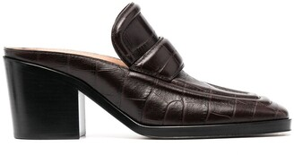 Bottega Veneta Croc-Effect Square-Toe Mules