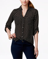 Amy Byer Juniors' Printed Tab-Sleeve Shirt