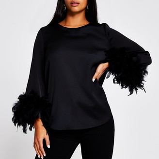 River Island Womens Petite Black long sleeve feather cuff top