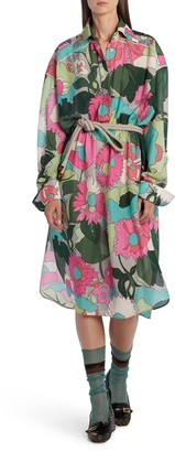 Fendi Floral Long Sleeve Silk Shirtdress
