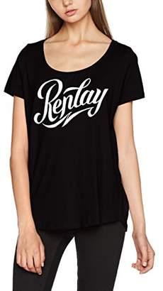 Replay Women's W3931B.000.20994-98 T-Shirt, (Black 98), Medium