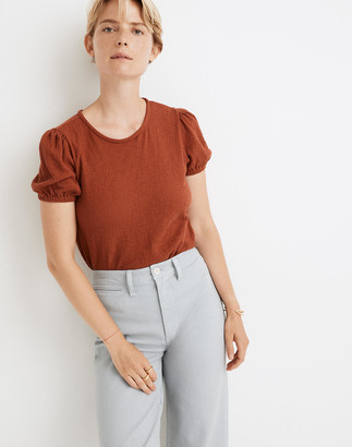 Madewell Superlight Jacquard Puff-Sleeve Tee