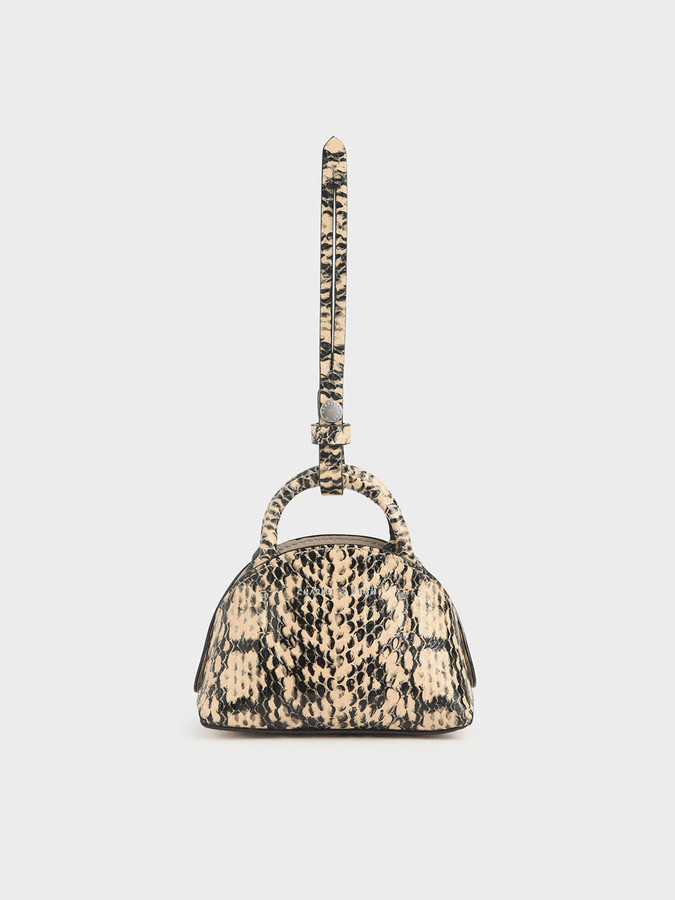 Charles & Keith Snake Print Mini Dome Pouch