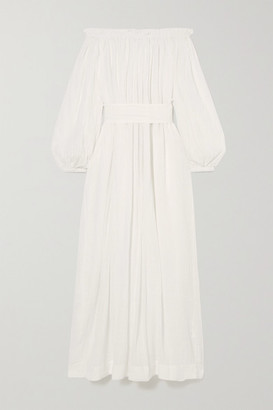 Kalita Pegasi Off-the-shoulder Belted Cotton-gauze Maxi Dress - White