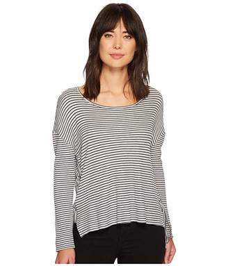 Vince Camuto Long Sleeve Side Tie Drapey Stripe Knit Top
