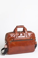 Bosca Double Compartment Leather Briefcase - Brown