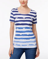 Karen Scott Striped Butterfly-Print Top, Created for Macy's