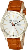 Ted Baker Men's Dress Sport Collection Custom Leather Strap Day/Date Watch Gold Watch