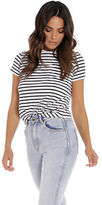 Nude Lucy Audhild Open Back T Shirt In Navy White Stripe size XXS