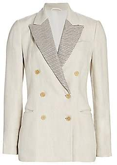 Brunello Cucinelli Women's Monili Lapel Linen Double Breasted Jacket