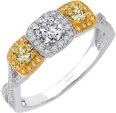 Lafonn Platinum & 18K Gold Plated Sterling Silver White & Canary Simulated Diamond Three Stone Ring