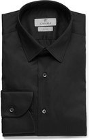 Canali Black Slim-Fit Stretch Cotton-Blend Shirt