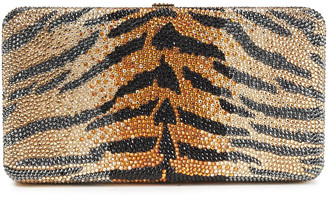Judith Leiber Airstream Crystal-embellished Tiger-print Platinum-tone Clutch