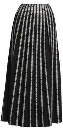 Alaia Plisse Striped Embroidered Maxi Skirt
