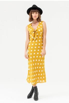 LIENA Tie Front Midi Dress in Yellow Polka Dot
