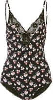 Stella McCartney Vintage Floral Crochet-trimmed Printed Swimsuit - Black