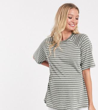 Asos DESIGN Maternity boxy t-shirt in burnout stripe-Green
