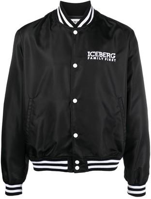 Iceberg Logo-Print Varsity Jacket