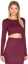 Lisakai Striped Long Sleeve Crop Top
