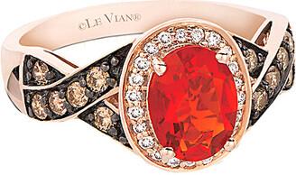 LeVian Le Vian 14K Rose Gold 0.99 Ct. Tw. Diamond & Fire Opal Ring