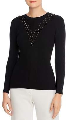T Tahari Ribbed & Beaded Crewneck Sweater